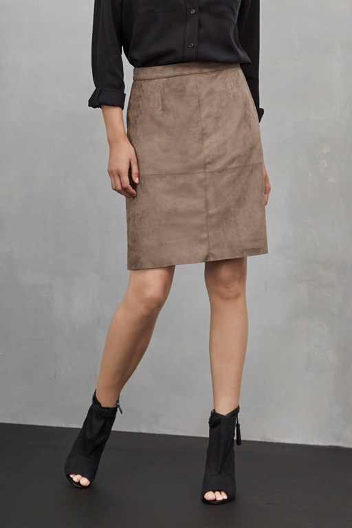 easily swaid faux suede skirt