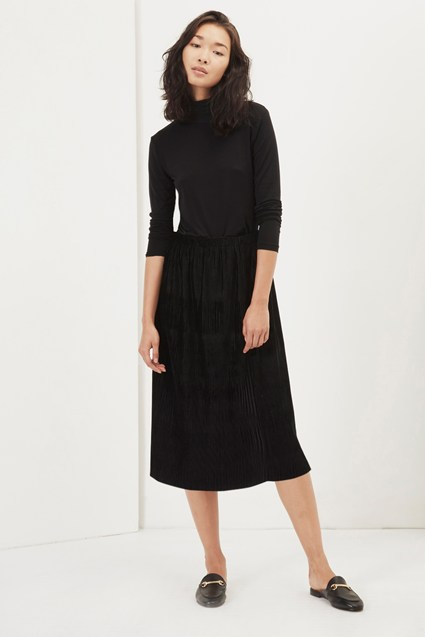 Pleated Plisse Velvet Skirt