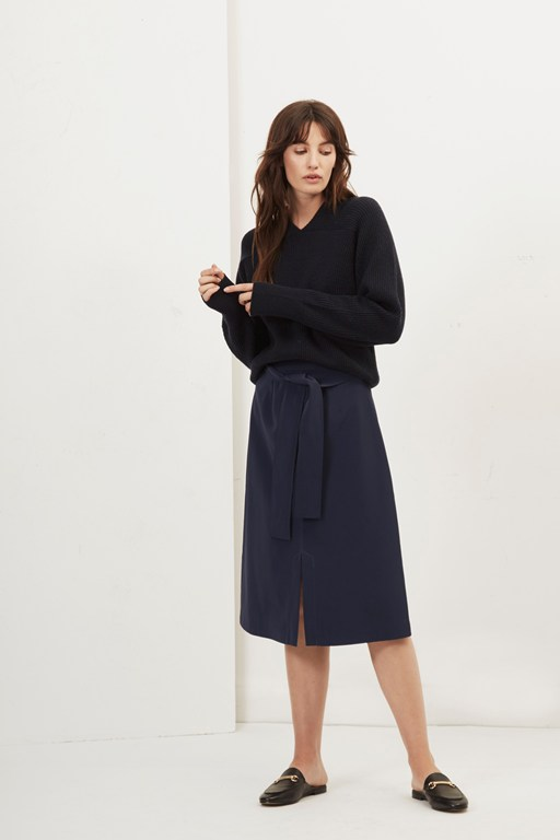 roanna faux leather a line skirt