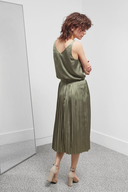 Satin Luxe Pleated Skirt