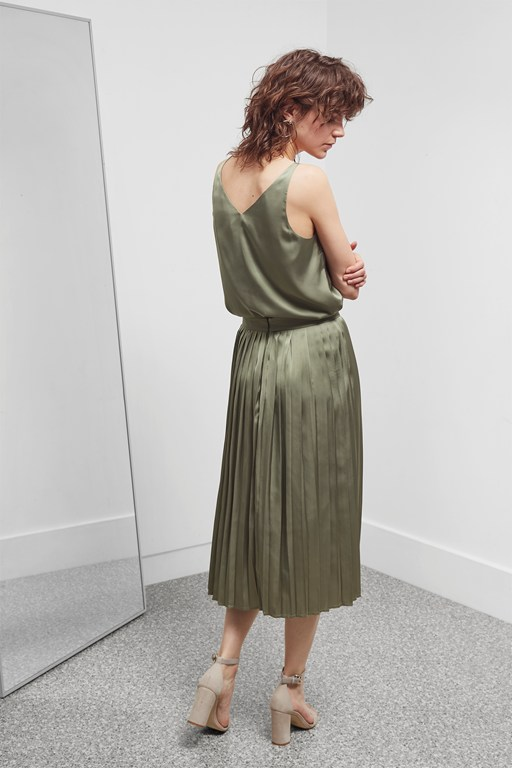 Complete the Look Satin Luxe Pleated Skirt