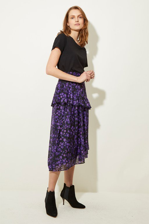 abstract floral tiered skirt