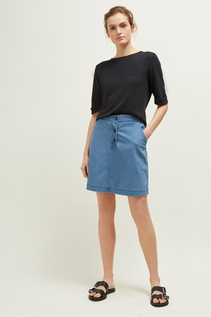 Desert Denim Button Short Skirt