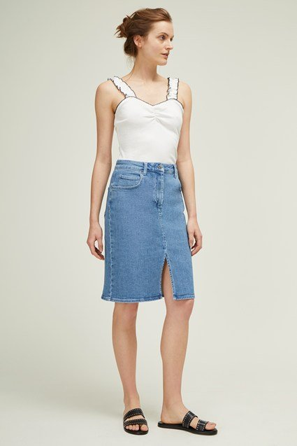 Rye Summer Denim Midi Skirt