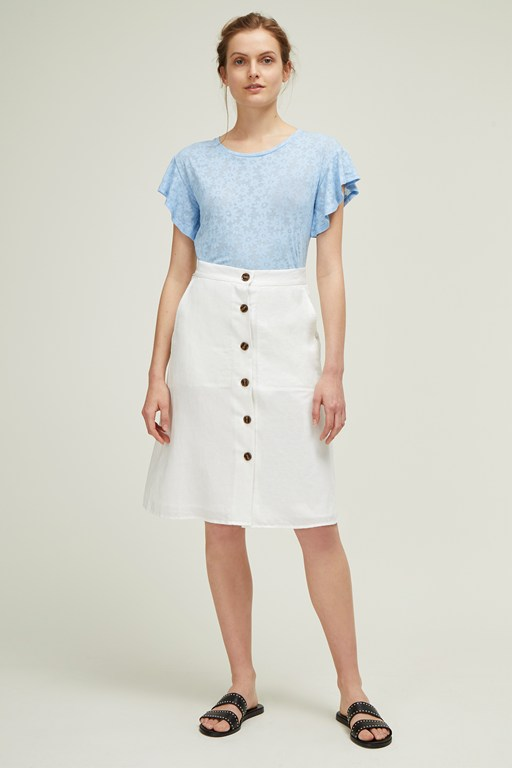 dana blend button midi skirt