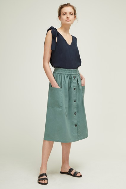 Hampton Cotton Poplin Button Skirt
