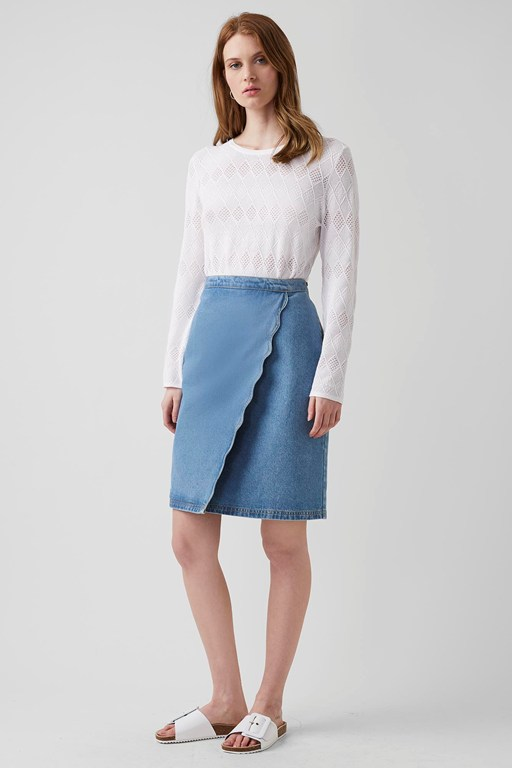 wave denim mini skirt