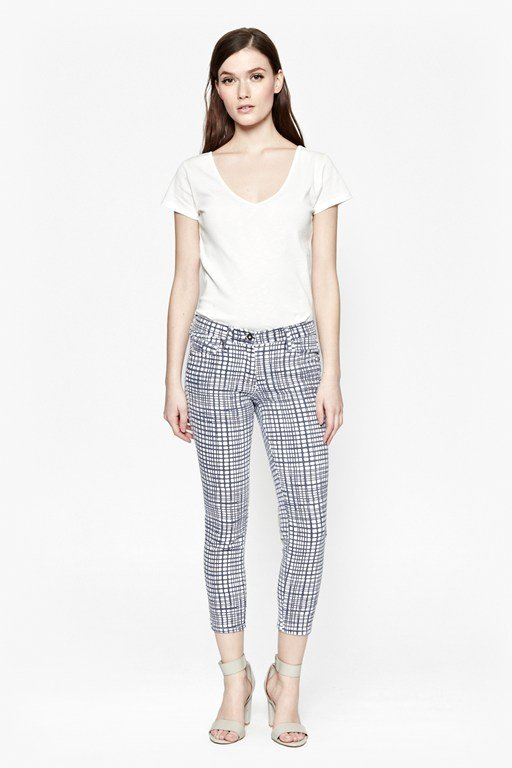 yoyo check cropped jeans