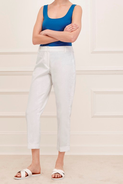 devon linen turn up trousers
