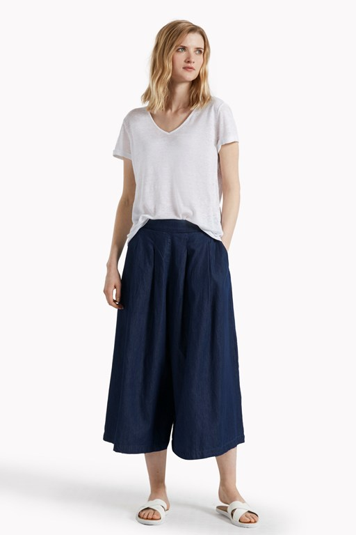 lightweight denim flared culottes