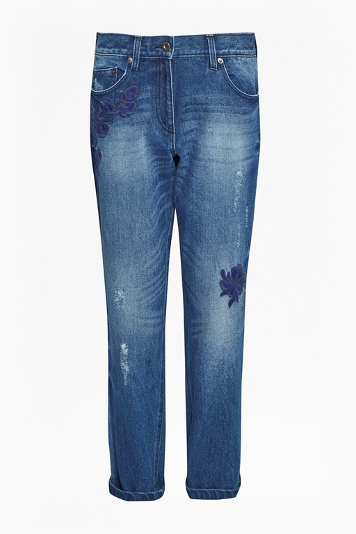 Complete the Look Flora Denim Floral Embroidered Jeans