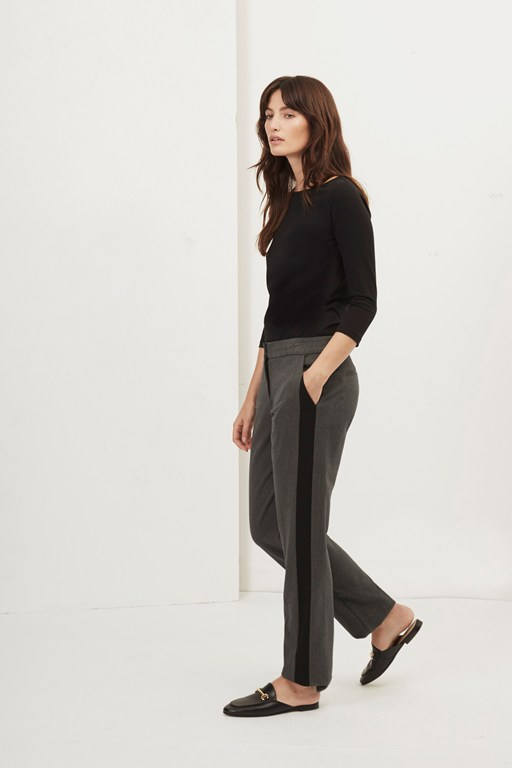 freya brushed contrast leg trousers