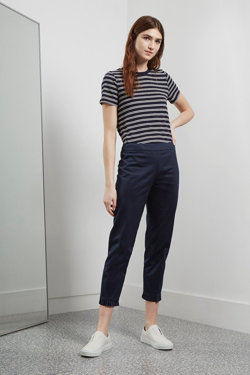 suki stretch ruffle hem trousers
