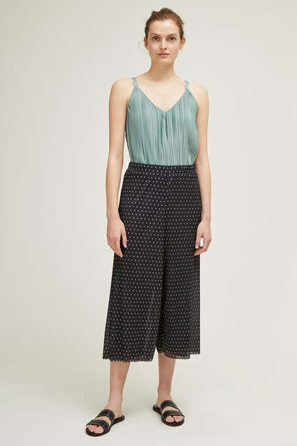Crinkle Dot Wide Leg Trousers