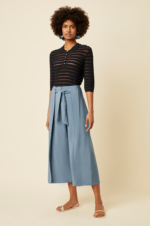 luna wide leg tie trousers