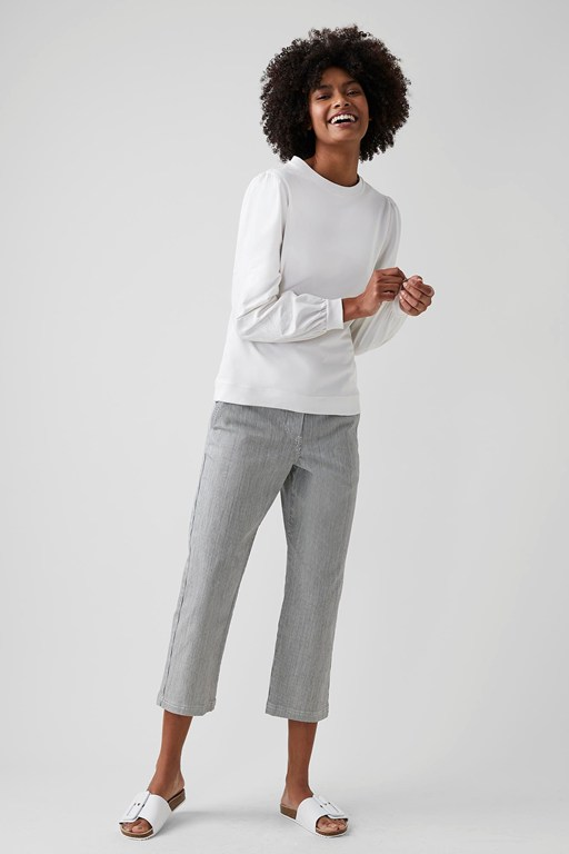 cotton micro stripe trousers