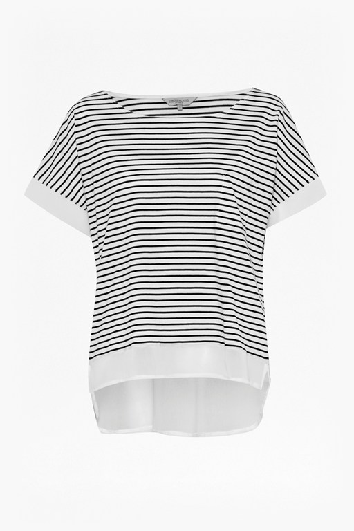 Complete the Look Suzanne Stripe Chiffon Trim T-Shirt