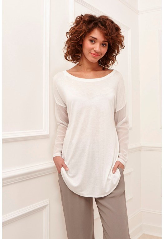 Remix Jersey Sheer Sleeved Top