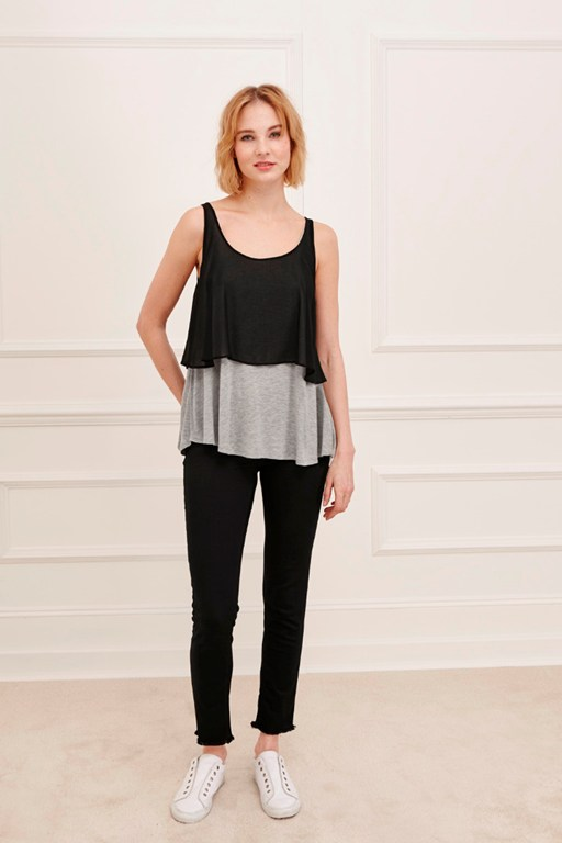 lucille jersey layered vest