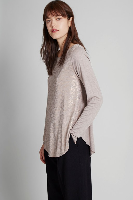 crystalline jersey long sleeves t-shirt