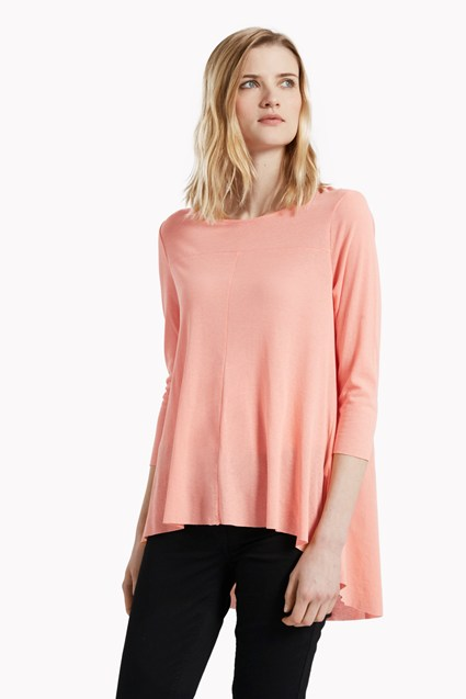Kristen Crepe Fluted Dipped Hem T-Shirt