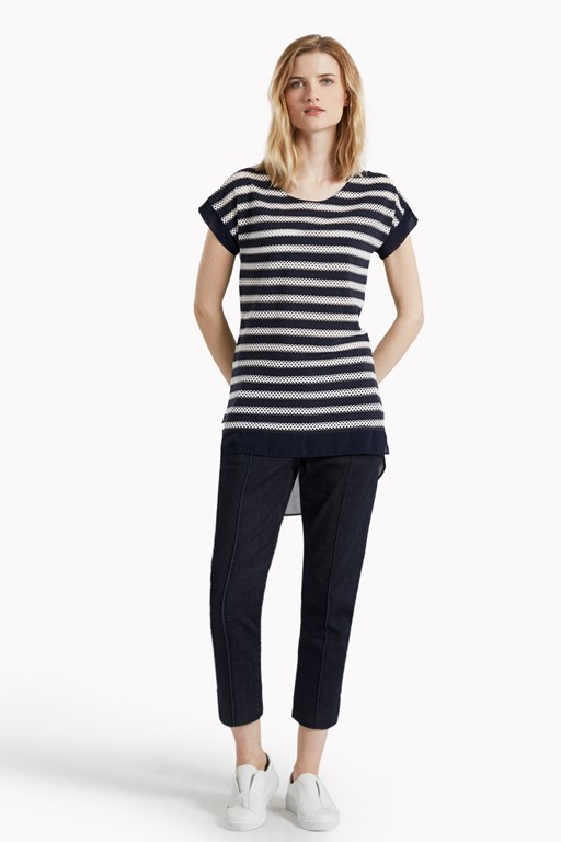 lattice stripe woven trim top