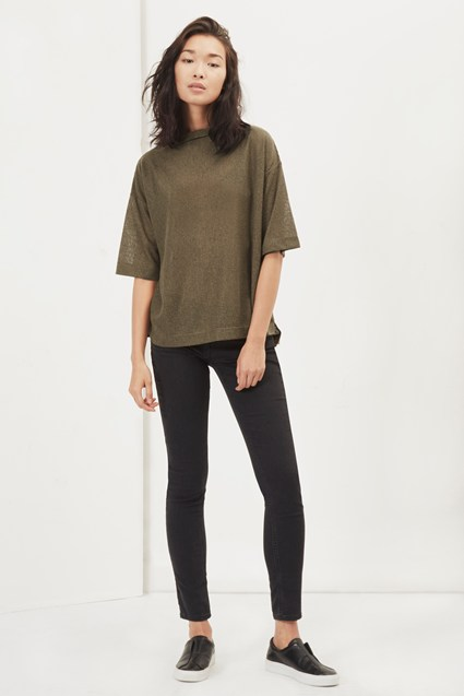 Sia Rib Funnel Neck Slouch Top