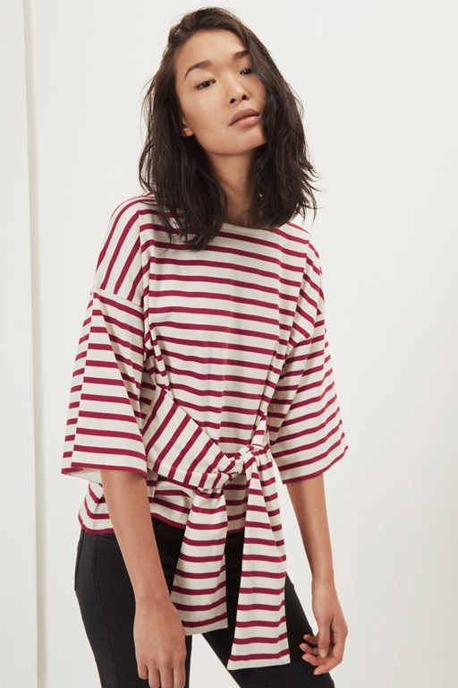 take it easy belted 3/4 sleeved top