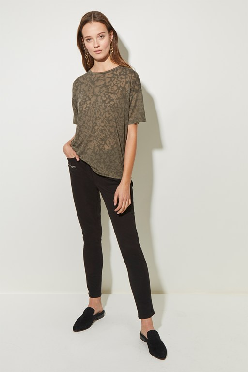 feathered leopard burnout t-shirt