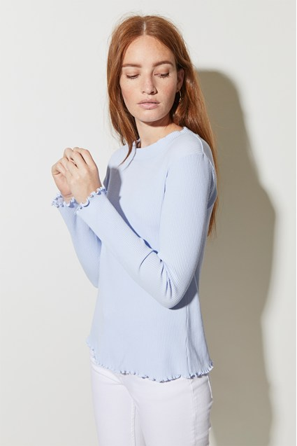Fitted Rib Round Neck Top