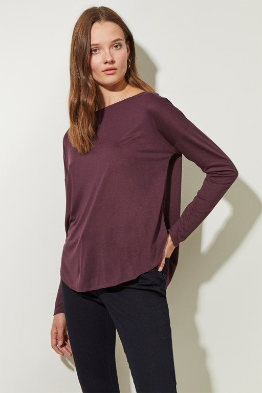 stitch detail slash neck top