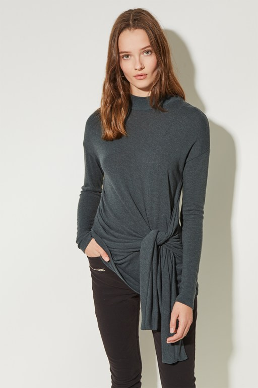 winter soft jersey tie waist top