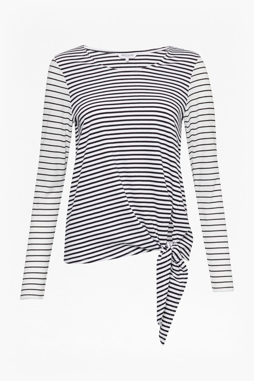 striped tie detail top