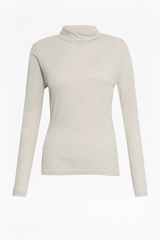 cashmere blend jersey roll neck top