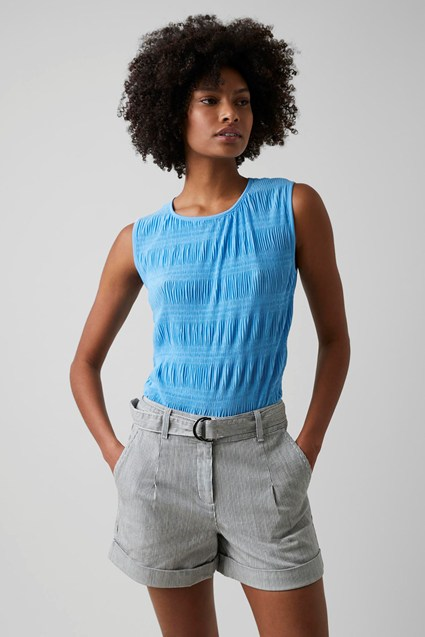 Ruffle Pleat Jersey Top