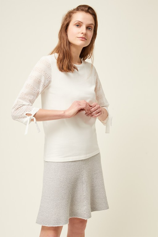 monmarte jersey lace sleeve top