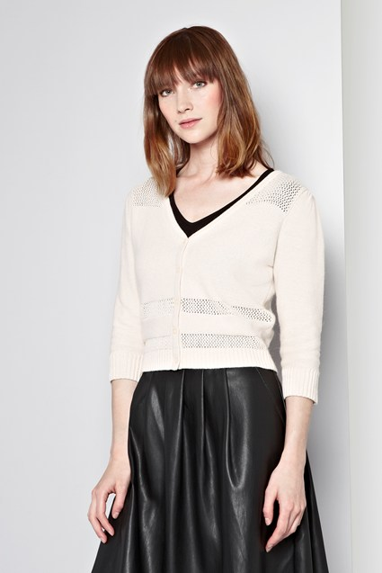 Mix Point Cropped Cardigan