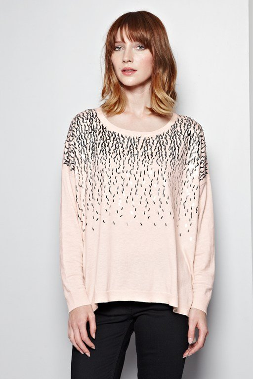 sequin drops slouchy jumper