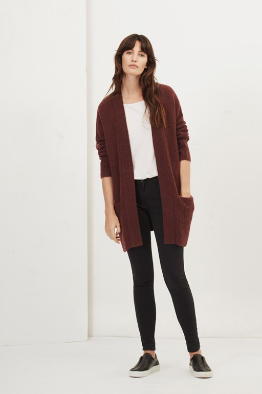 aster long line knit cardigan