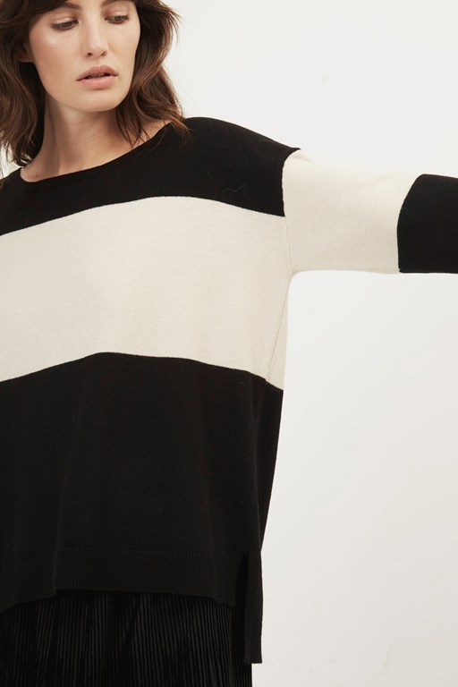 colette cashmere block striped jumper