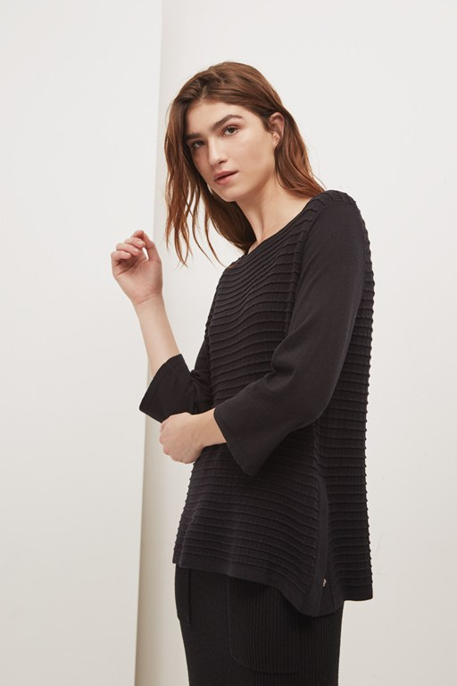 lattice knit boat neck jumper