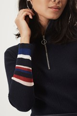 Louisa Rib Stripe Polo Neck Jumper