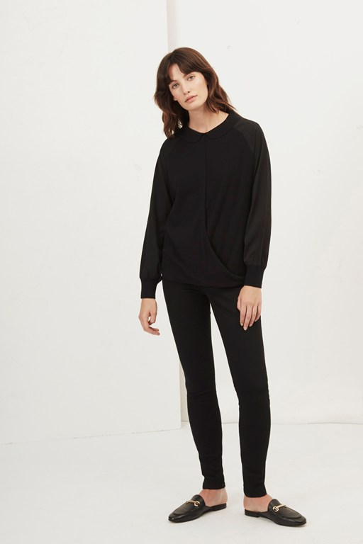 newlyn knitted drape shirt