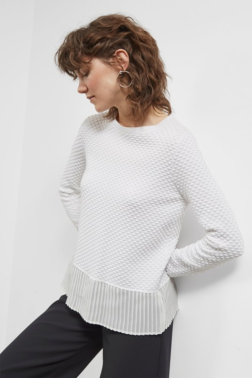 Complete the Look Kimara Cotton Pleated Hem Jumper