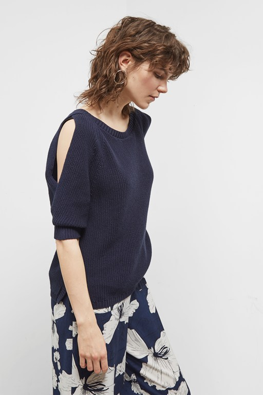 kendall cotton split sleeve jumper