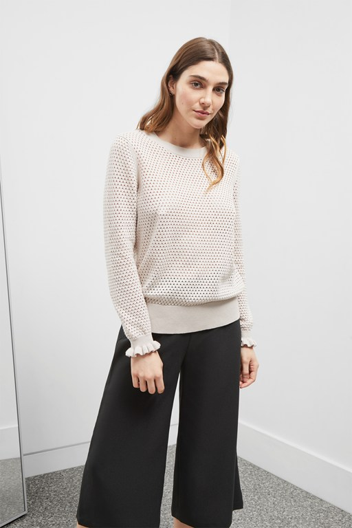 cotton pointelle sweater