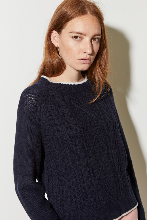 tipped cable raglan jumper