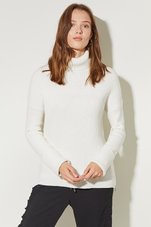 fisherman rib high neck jumper