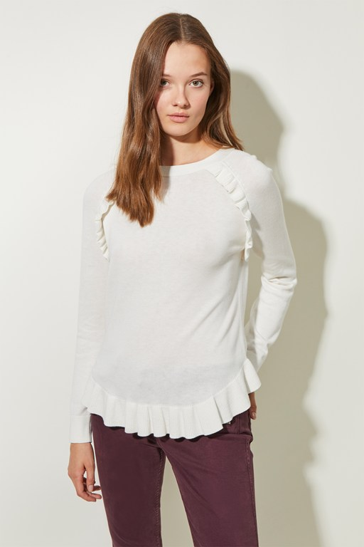 frilly mix round neck jumper