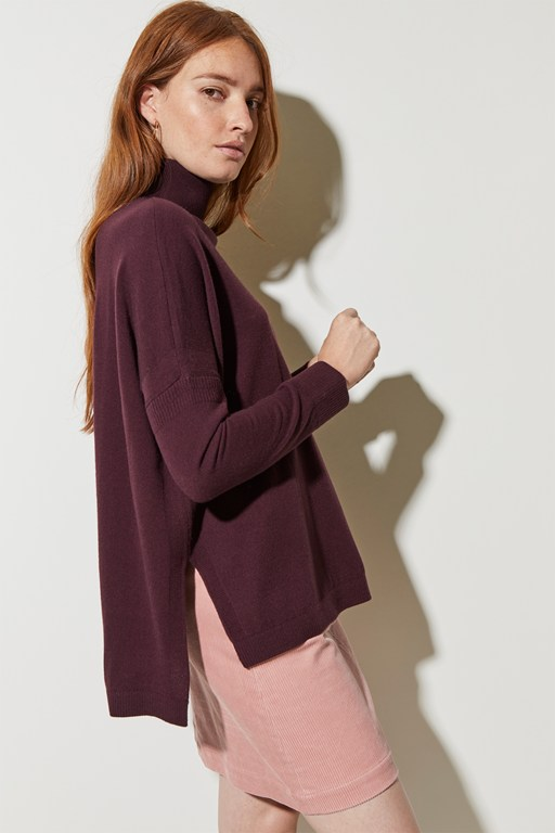 guernsey stitch high neck jumper